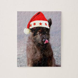 Puzzle Casquette de Noël de chien de berger allemand