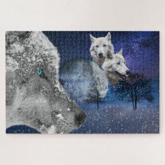 Puzzle Casse-tête d'image de loup blanc