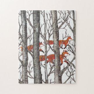 Puzzle Casse-tête grise rouge en bois de forêt de Fox