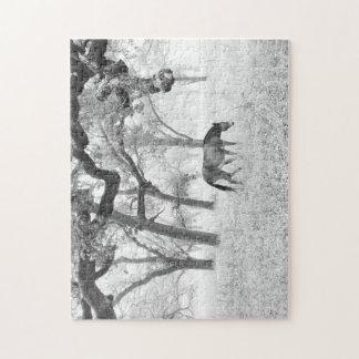 Puzzle Cheval dans un domaine brumeux des chênes