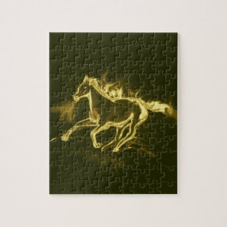 Puzzle cheval de flamme, d'or