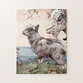 Puzzle Chèvre et enfant par E.J. Detmold