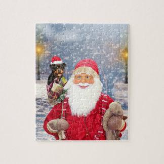 Puzzle Chien de rottweiler de cadeaux de Noël du père