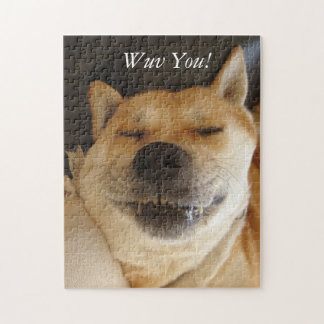 Puzzle chien mignon d'akita avec amour drôle de photo de