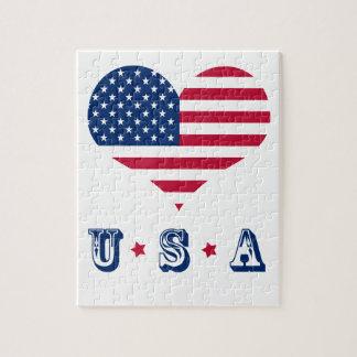Puzzle Coeur américain des Etats-Unis de drapeau de