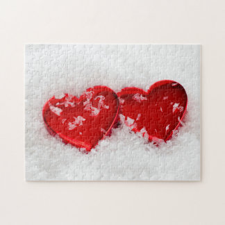 Puzzle Coeurs d'amour dans la casse-tête de neige