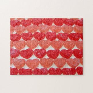 Puzzle Coeurs de sucrerie dans une rangée