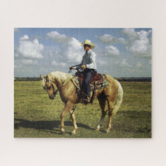 Puzzle Cowboy sur un cheval de palomino