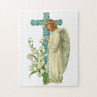 Puzzle Croix chrétienne fleurie bleue