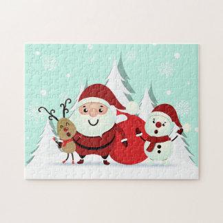 Puzzle de Noël de Père Noël, de renne et de