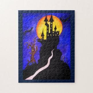 Puzzle de photo d'arbre de château de Halloween