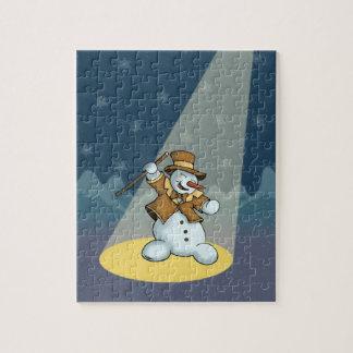 puzzle de vacances de bonhomme de neige de danse