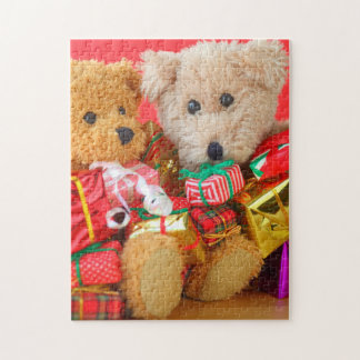 Puzzle Deux nounours avec des cadeaux de Noël