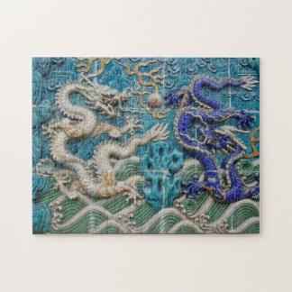 Puzzle Dragons asiatiques blancs et bleus de style