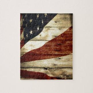 Puzzle Drapeau américain de fibre de bois americana
