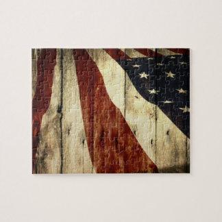 Puzzle Drapeau américain en bois de grange americana