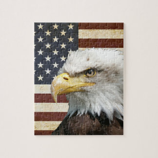 Puzzle Drapeau des USA Etats-Unis de cru avec l'Américain