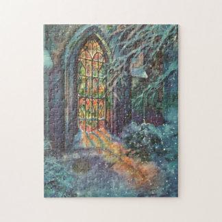 Puzzle Église vintage de Noël avec la fenêtre en verre