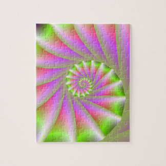 Puzzle en spirale rose et vert