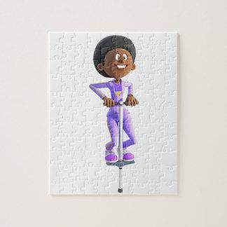 Puzzle Fille d'Afro-américain de bande dessinée montant