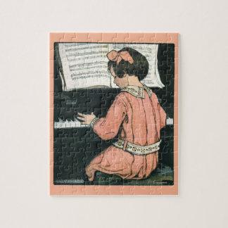 Puzzle Fille vintage de musique de piano par Jessie