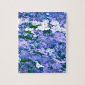 Puzzle Fleur blanche de cornouiller dans le bleu
