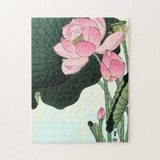 Puzzle Fleur japonaise vintage des beaux-arts | Lotus