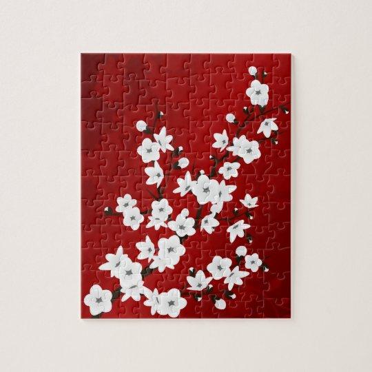 Puzzle Fleurs de cerisier noires et blanches rouges