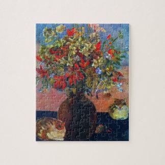 Puzzle Fleurs et chats par Gauguin, beaux-arts vintages