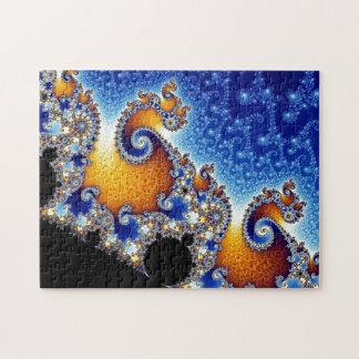 Puzzle Fractale en spirale bleue de Mandelbrot double