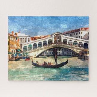 Puzzle Grande peinture d'aquarelle de canal coloré de
