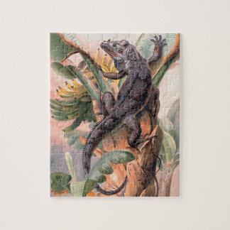 Puzzle Iguane noir tropical, animal sauvage vintage de