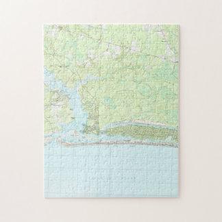 Puzzle Île la Caroline du Nord Map (1990) de chêne