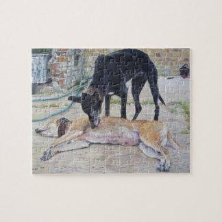 Puzzle image animale réaliste d'art de chien de lévrier