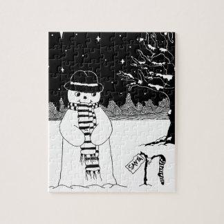 Puzzle Image noire et blanche d'art de Noël de bonhomme