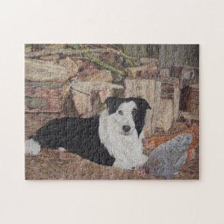 Puzzle image noire et blanche de poulets de chien de