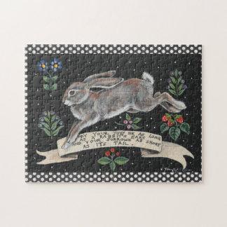 Puzzle inspiré floral de lapin noir et blanc