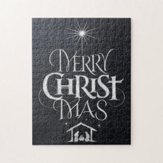 Puzzle Joyeuse craie religieuse de noir de Noël de MAS du