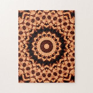 Puzzle Kaléidoscope tissé brun chocolat de mandala