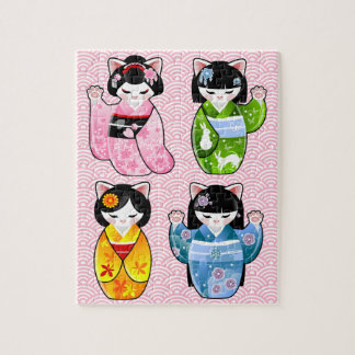 Puzzle Kimono Kokeshi de chat de Maneki Neko Kawaii de