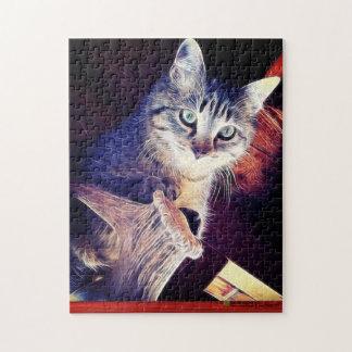 Puzzle Kitty dans la photographie de plan rapproché de