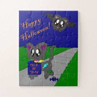 Puzzle La scène animale délabrée mignonne de Halloween