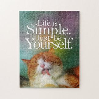 Puzzle La vie est simple soit vous-même citation inspirée