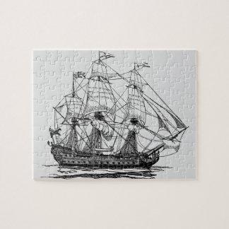 Puzzle Le cru pirate le galion, croquis d'un bateau