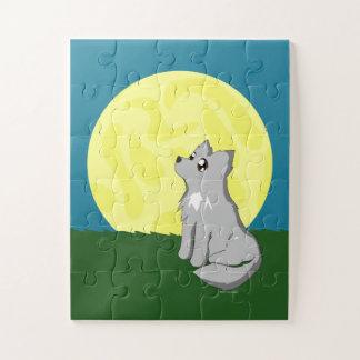Puzzle Le loup délabré mignon avec la lune badine le