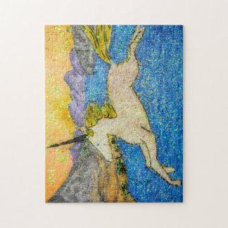 Puzzle Licorne glissant au-dessus du lac evolution