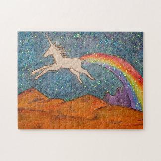 Puzzle Licorne pétant un arc-en-ciel dans le ciel