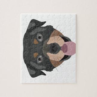 Puzzle L'illustration poursuit le rottweiler de visage
