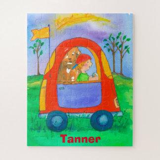 Puzzle Little Boy et enfants de voiture de jouet de chien
