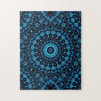 Puzzle Mandala floral bleu-foncé